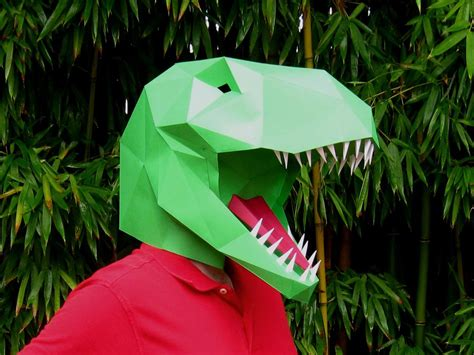 How To Make At Rex Out Of Paper - dinosaur mask make your own t rex by tetravariations