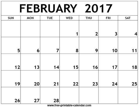 free printable calendar template february 2017 printable calendar