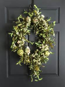 Front Door Wreaths Oval Artichoke Wreath Summer Wreath Front Door Wreaths