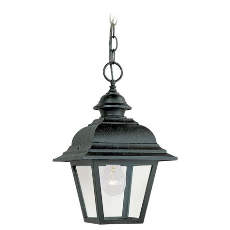 Lowes Patio Lighting Shop Sea Gull Lighting 14 25 In H Black Outdoor Pendant Light At Lowes