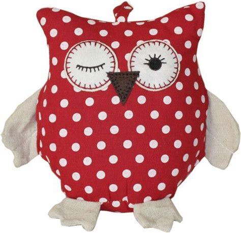 winking red owl doorstop door stop fabric cream chic shabby vintage kitchen new vintage chic