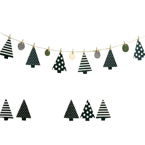 pine tree christmas tree string banner bunting flags window outdoor home party decor