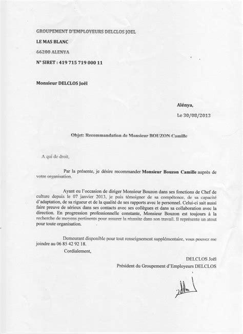 Demande De Lettre De Recommandation A Employeur Lettre De Recommandation Du Groupement D Employeurs J Delclos Cv Camille Bouzon