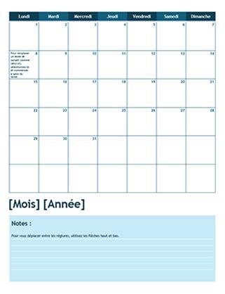 format excel jour de la semaine calendrier scolaire mensuel lundi comme premier jour de