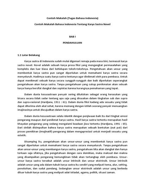Contoh Makalah Bahasa Indonesia Karya Sastra Novel