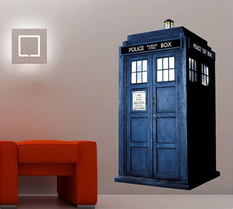 dr who tardis phone booth decal wall sticker by printadream
