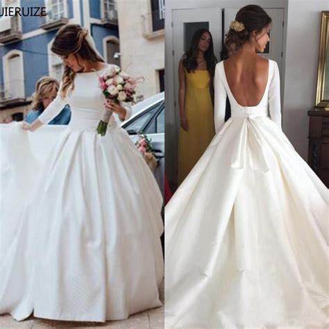 jieruize white simple backless wedding dresses  ball
