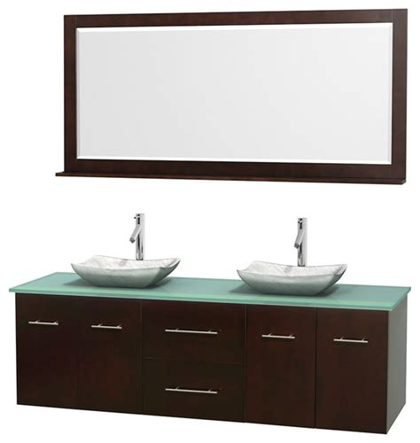 glass bathroom countertops sinks 72 quot double bathroom vanity in espresso green glass
