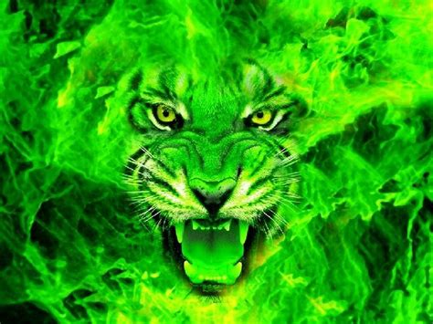 green tiger face cool graphics rumble