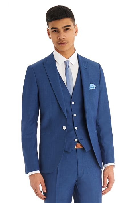 Sliming Suit 3 In 1 moss mens suit slim fit faded blue 3 1 button single breasted prom ebay