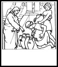 jesus turns water wine coloring pages coloring