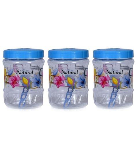 Jar Plastik 1000 Ml kohinoor jelly plastic jars blue flower print 1000 ml set