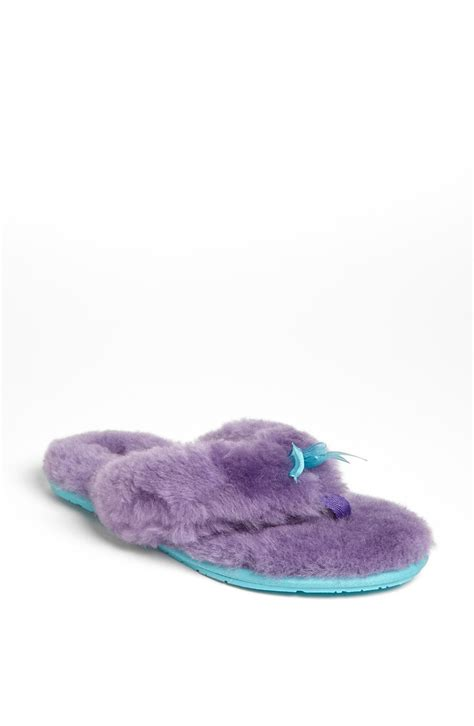 flip flop slippers ugg fluff ii flip flop in purple purple lyst