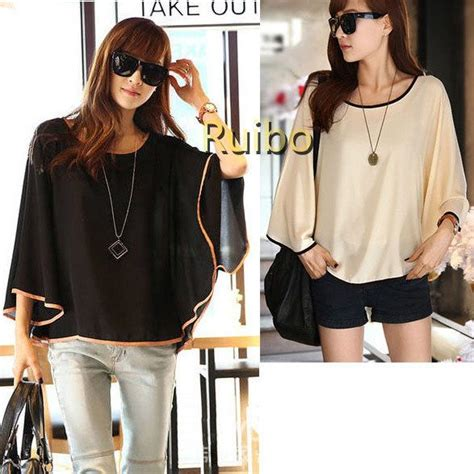 Buffy Top Tunik 2013 fashion contrast color trims plus size chiffon blouses batwing sleeve tunics tops for