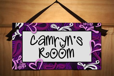 bedroom signs purple swirls girls teen bedroom door sign wall art decor