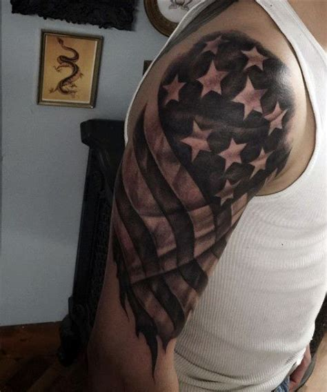 american flag arm tattoos for males in black ink tattoo
