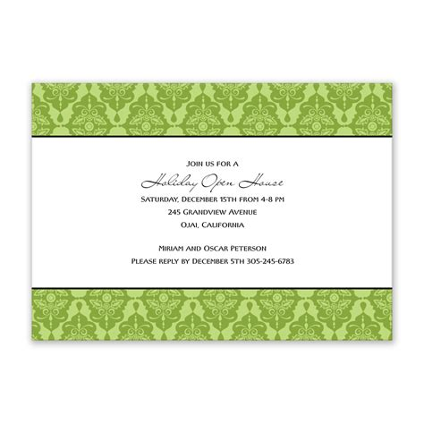 Invitation Card Design Green | fabulous holiday open house invitation card design with