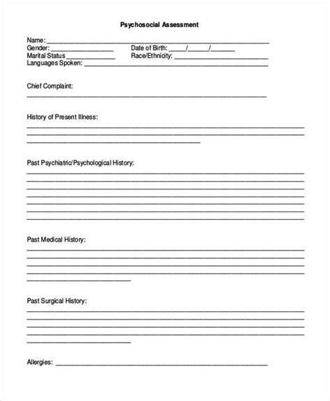psychosocial assessment template sle free assessment forms 33 free documents in word dpf