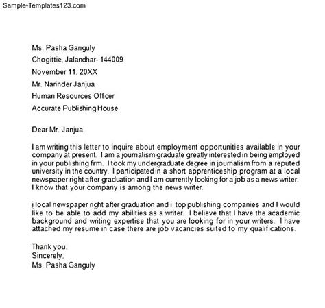 Inquiry Letter For Hiring Employment Inquiry Letter Sle Templates