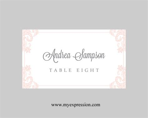 place card template word 2003 wedding place cards template light pink damask instant