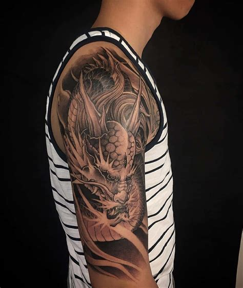 1 2 sleeve tattoo asian black and grey archives chronic ink