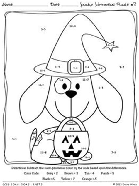 halloween coloring pages math color by number addition and subtraction halloween