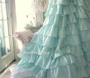 shabby aqua blue dreamy ruffled shower curtain beach