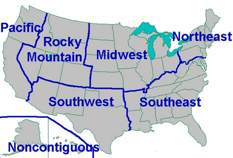 usa map with regions and states us history ii geography cities states regions