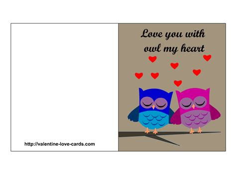 printable cards about love love cards with owls
