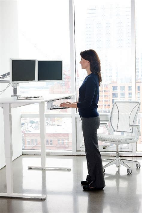 table standing float height adjustable sit stand table