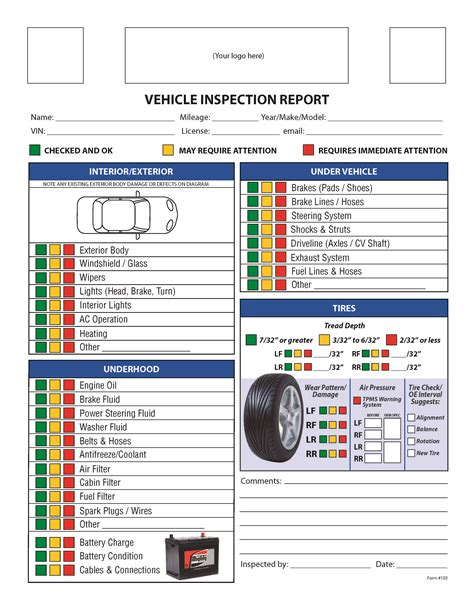vehicle service checklist template free vehicle inspection checklist form to