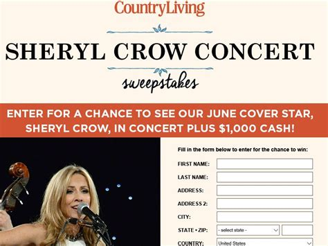 Concert Sweepstakes 2016 - country living sheryl crow concert sweepstakes sweepstakes fanatics