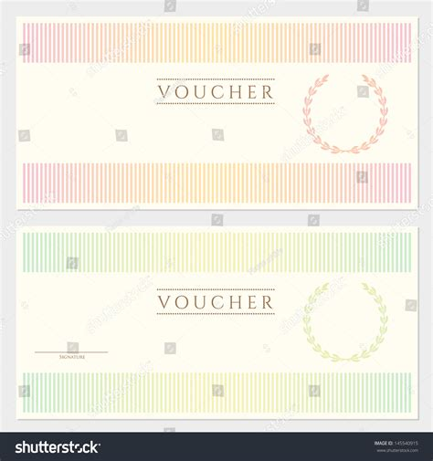 voucher gift certificate template with colorful stripy
