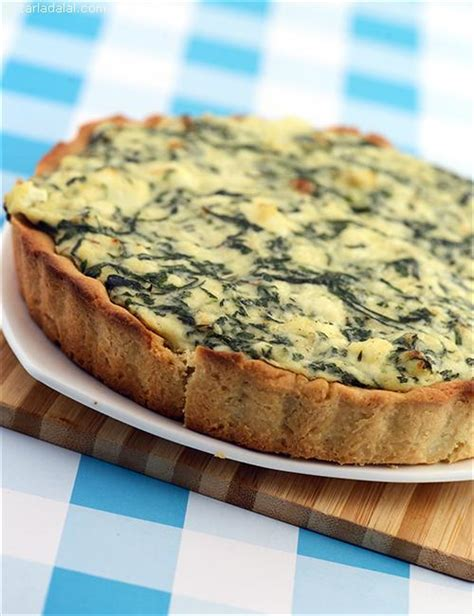 spinach and cottage cheese quiche recipe by tarla dalal