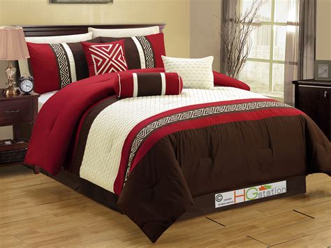 burgundy queen comforter set 7 pc embroidery quilted triangle meander greek key