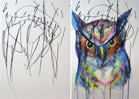4 Drawing Media by Artist Turns 2 Year S Sketches Into Paintings