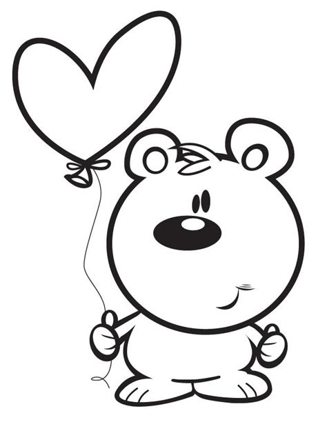 coloring page bear with heart bear with heart free printable coloring pages cliparts co