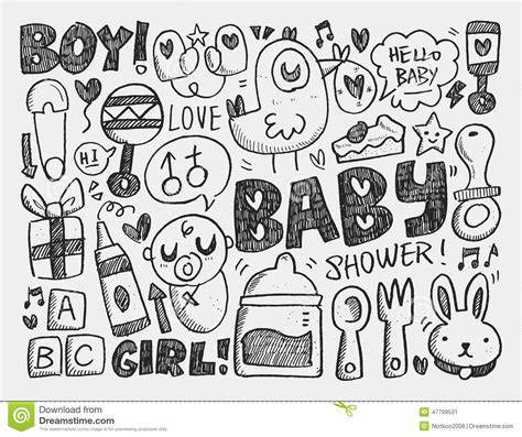 free doodle baby doodle baby background stock vector image 47799531