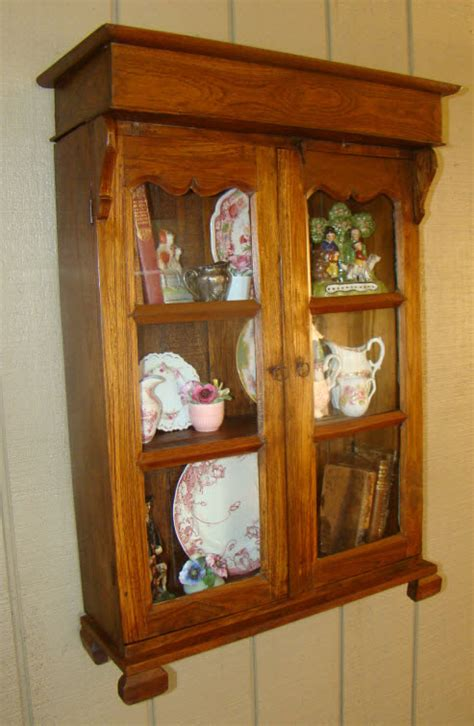vintage rustic country wall cabinet curio glass