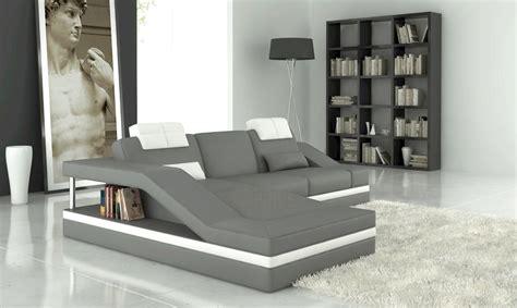 canape cuir blanc et gris canap 233 d angle en cuir italien 5 places elvir gris clair