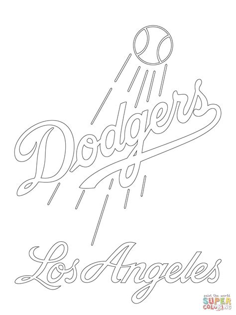 angels baseball coloring page los angeles dodgers logo super coloring party ideas