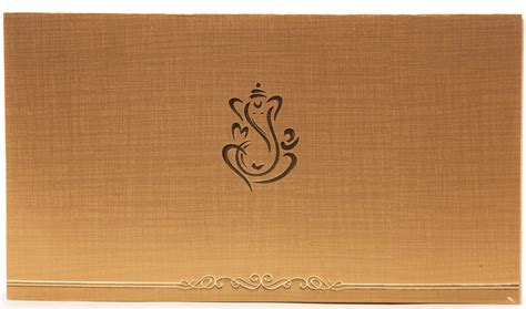 Indian Home Decor Online Shopping by Hindu Wedding Invitation In Golden Beige With Ganesha