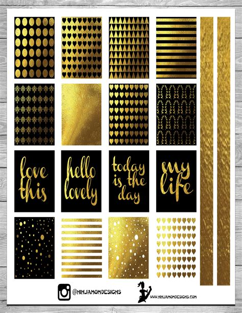 printable sticker paper gold free black and gold planner sticker printable