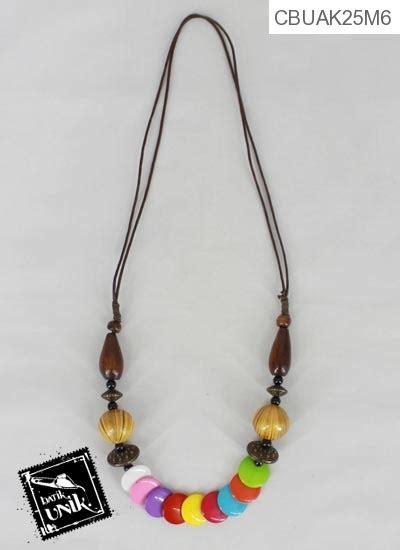 Kalung Murah Bagushiasan kalung tali hiasan kayu warna warni cantik kalung etnik murah batikunik