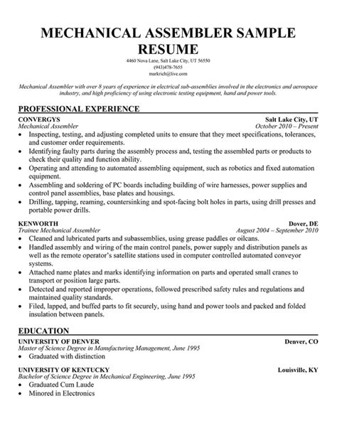Free Sle Resume Production Worker Assembly Line Resume Sle Sle Resume