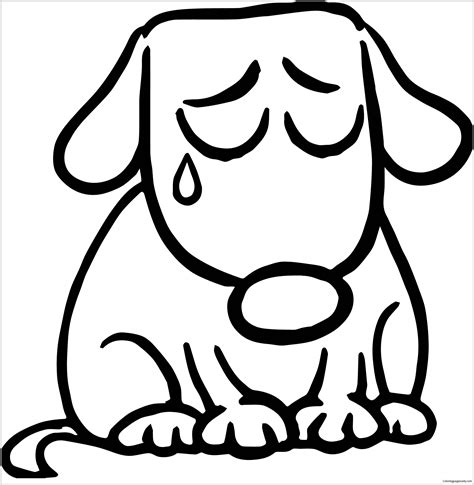 sad dog coloring page sad puppy coloring page free coloring pages online