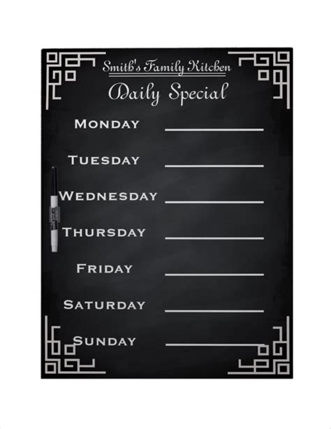 family dinner menu template weekly menu template 20 free psd eps format