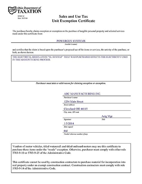 Blanket Exemption Certificate Ohio by Powergen Energy Conservation Systems Reduce Energy Cost By