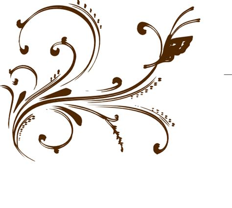 brown floral design with butterfly clip art at clker com