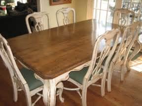 Distressed White Kitchen Table Handpainted Distressed And Stained Table And Chairs